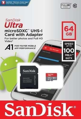 Cartão Sandisk Ultra 100mb/s 64gb Micro Sd Lacrado +adptador