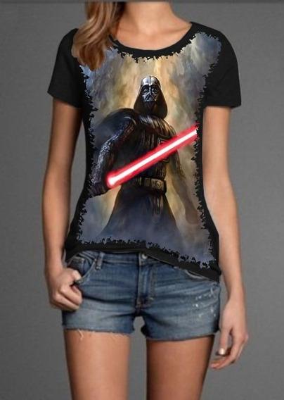Camiseta Feminina Baby Look Full Print Darth Vader Sabre