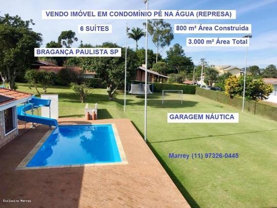 Represa Para Venda Em Bragança Paulista, Pé Na Água, 6 Suítes (condomínio Represa) 3.000 M ² At 800 M² Ac, 6 Dormitórios, 6 Suítes, 9 Banheiros, 10 Vagas - 919