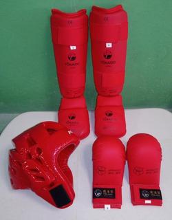 Tokaido Espinilleras Guantes Y Careta Color Rojo Paquete
