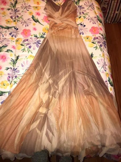 Vestido De Fiesta De Tul Color Nude (piel)