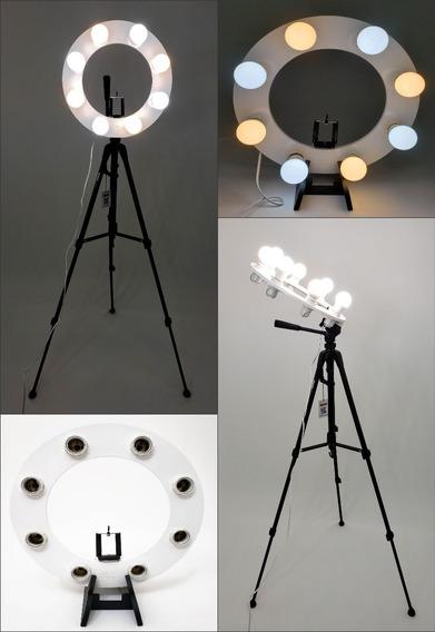Ring Light 08 Soquetes 2em1 Tripé + Kit Selfie + Frete