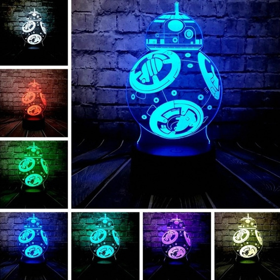 Star Wars LED lámpara 7 colores 3d ilusión hologram película episodio Vader r2d2 bb8