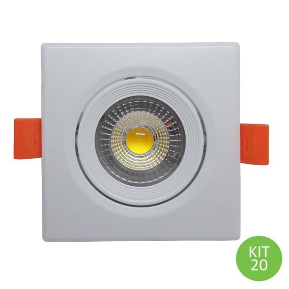 Spot Dicróica Led Direcional 7w Branco Quente Quadrado Kit20