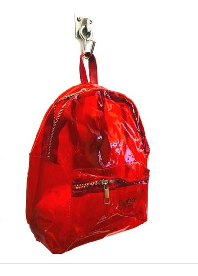 Mochila Importada Transparente Rojo Verano 2019 Luba By Luna