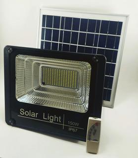 Reflector Led 150w Luz Solar Panel Y Control Remoto Incluido Exterior Patio Canchas