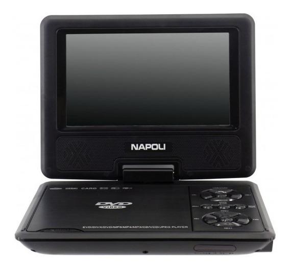 Dvd Portátil Napoli Npl-7050 - Usb - 7 Polegadas - Preto