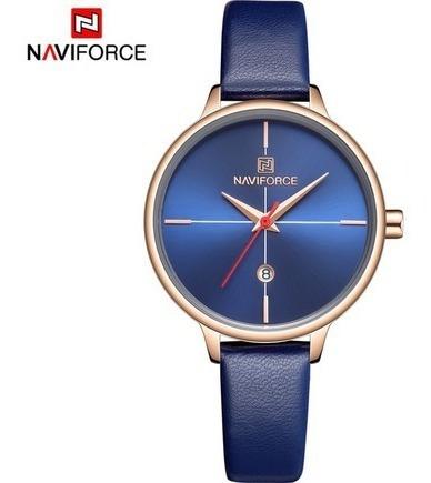 Relógio Feminino Naviforce 5006 Slim Couro Frete Grátis 12x
