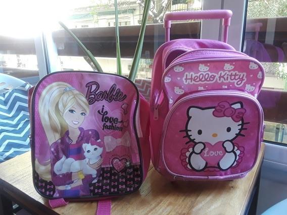 Mochila Kitty Con Ruedas Y Barbie