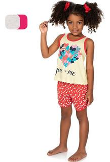 Roupa Infantil Menina Pijama Curto Camiseta Regata E Shorts