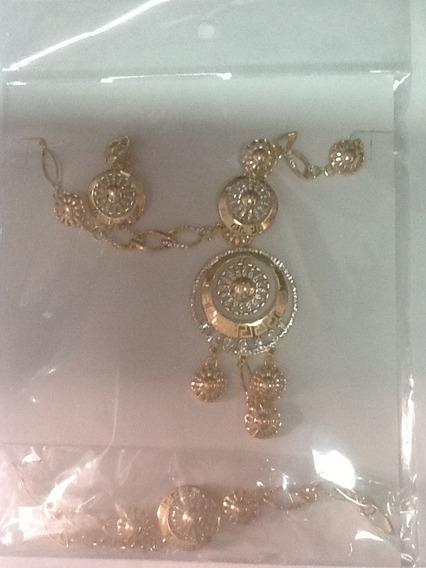 Collar En Chapa De Oro 100% Incluye Aretes Y Pulsera Oferta
