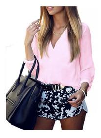 Camisa Casual Social Chiffon Feminina Ebany 2 Rosé Promoção