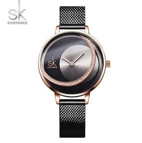 Relógio Feminino Inox Casual Pulseira Aço 30m - Preto Rose