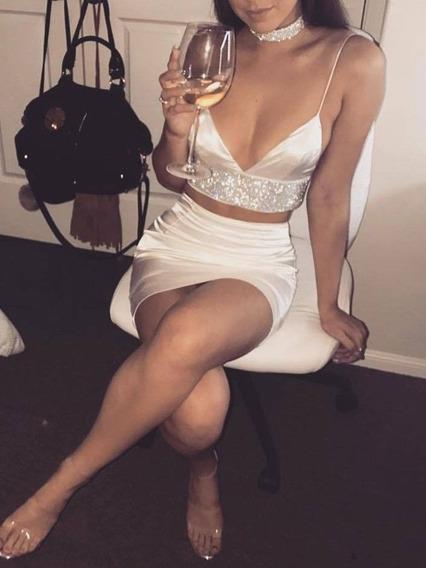 Vestido Falda & Top Khaki Fashion Sexy Club Fiesta Noche