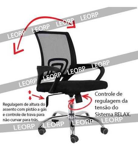 Imagem 1 de 5 de Cadeira Escritório, Pé Cromado, Sist. Relax, Gás, Malha Mesh