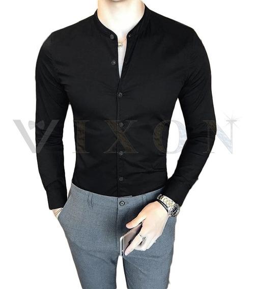 Camisa Entallada Hombre Manga Larga Slim Fit Al Cuerpo