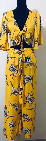 Conjunto Blusa/pantalón Amarillo (m) Estampado Flores Cafe