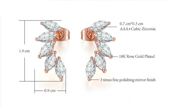Brinco Feminino Ear Cuff Rosê Gold Zircônias 15 Anos C593