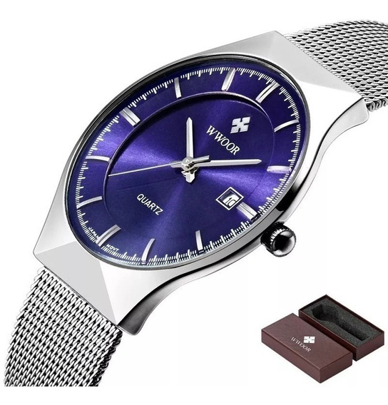Relógio Masculino De Pulso Super Fino 8016 Japonês De Luxo
