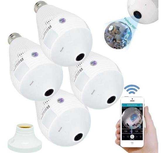 4x Lâmpada Espiã 360° Panorâmica Hd Wifi Ip Led Grava Alarme