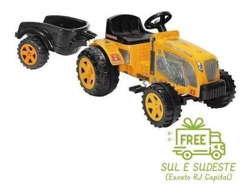 Mini Trator Pedal Fazendeiro Amarelo Com Caçamba Biemme