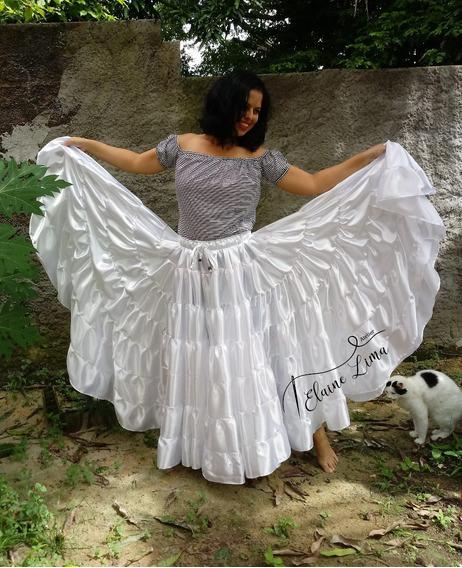 Saia Dança Cigana Umbanda Candomble 7 Babados 20m Cores