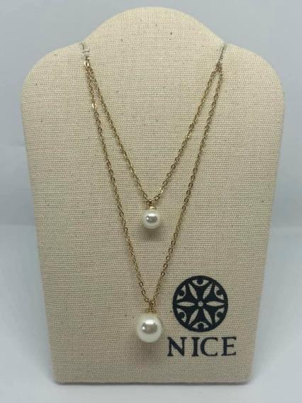 Joyeria Nice Moda Collar Doble Perla 4 Baños De Oro 18k