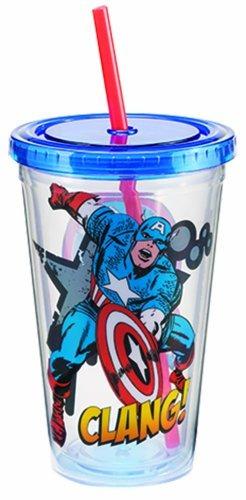 Imagen 1 de 3 de Vandor 26214 Marvel Capitán América 18 Oz Taza De Viaje De A