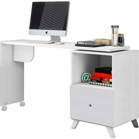 Mesa Para Escritório Com Tampo Giratório Rodinhas E Gaveta