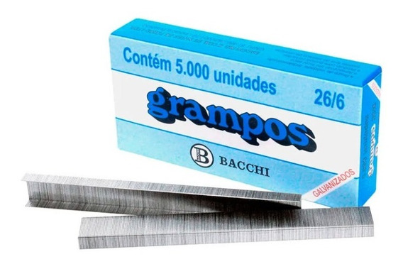 Grampo Galvanizado 26/6 Caixa/5000 Para Grampeador