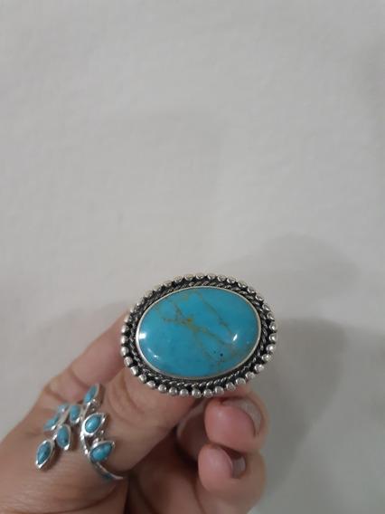 Anel Prata 925 Com Pedra Natural