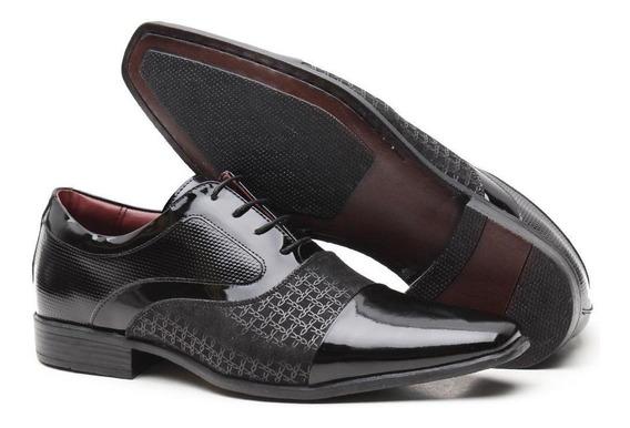 Sapato Social Artesanal Masculino Versales Em Couro Verniz