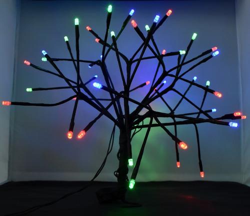Arbol De Luces Led De Navidad Colores Cable Verde