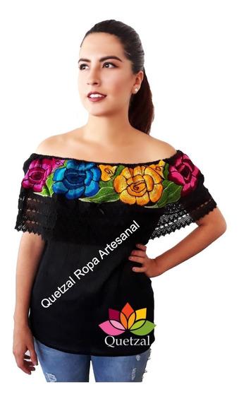 Blusa De Dama Mexicana Campesina Bordada Artesanal Típica N