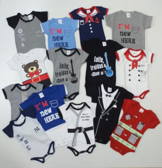 Body Bebê Menino P-m-g 100% Algodão 5 Bodies Infantil Bebês