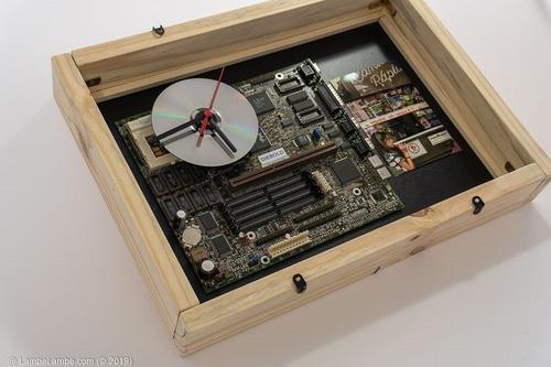 Relógio De Parede Porta Retrato Cd Placa Mãe Reciclagem