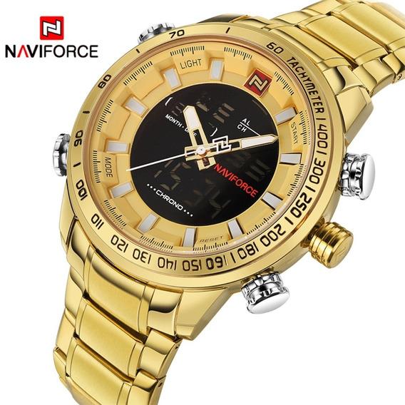 Relógio Masculino Naviforce Dourado Digital Aço Original
