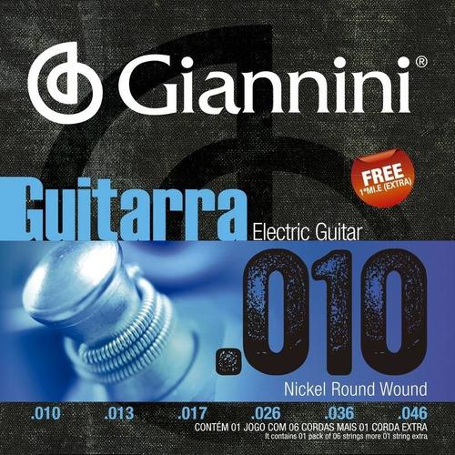 Imagem 1 de 1 de Jogo Com 6 Cordas Giannini 010 De Guitarra + 01 Corda Extra