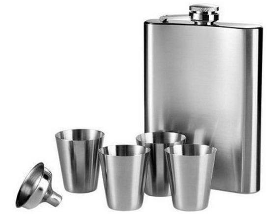 Kit Cantil Porta Bebida Bolso Inox 4 Copos 1 Funil 230ml
