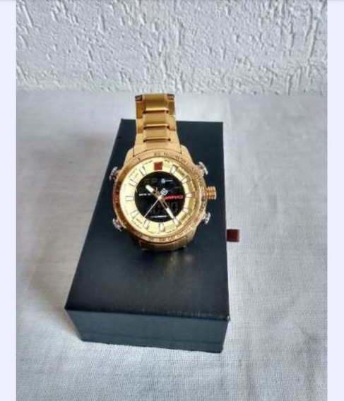 Relógio Naviforce Analógico Original Aço Inoxidável Dourado