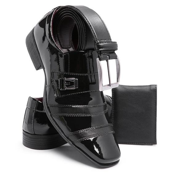 Sapato Social Verniz Masculino Linha Luxo Cinto Carteira 803