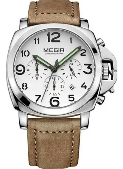 Relógio Megir 3406 Masculino Luxo Pulseira Couro Fréte Grats