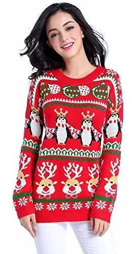 V28 Ugly Christmas Sweater, Mujer Chica Largo Vintage Tejido