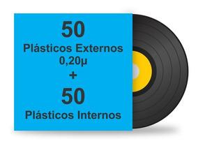 100 Plásticos Para Lp Disco Vinil. 50 Ext. Grosso + 50 Int