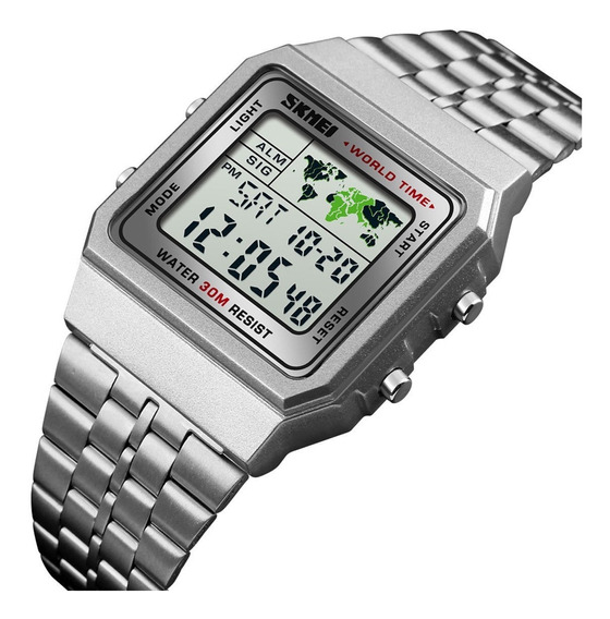 Relógio Pulso Masculino Skmei Aço Inoxidável Quartz Digital