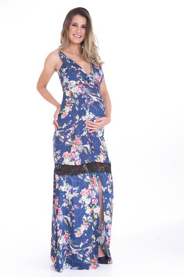 Vestido Gestante Longo Detalhe Renda Florido Amamentação Mul