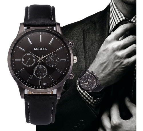 Relógio Migeer Original Quartz Couro Design Retro Masculino