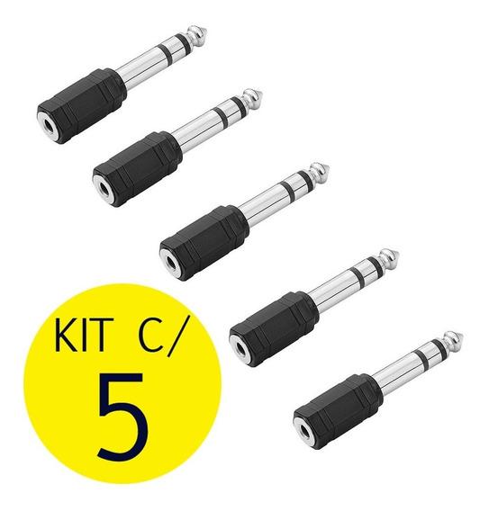 Kit C/ 5 Plug Adaptador P2 / P10 Estéreo Conector Fone