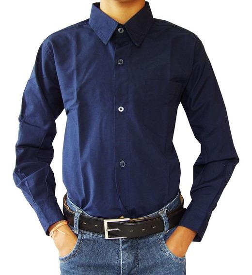 Kit 6 Camisa Social Infantil Manga Longa Branca,azul Claro