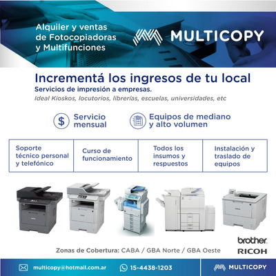 Alquiler Y Venta De Fotocopiadoras Y Multifunciones
